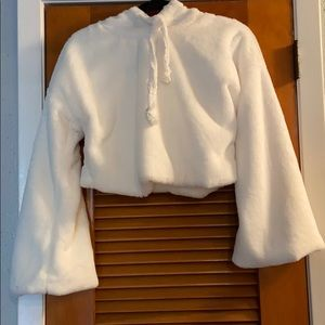 Charlotte Russe Cropped White Faux Fur Hoodie